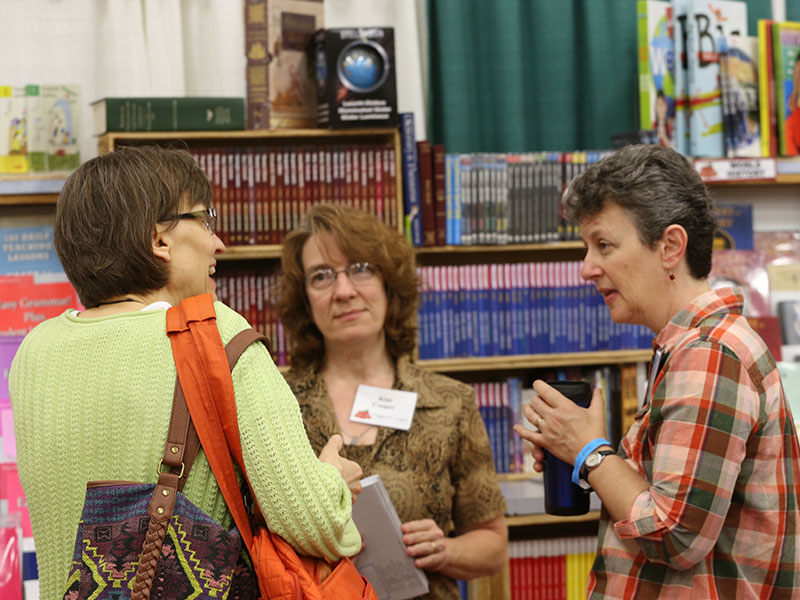 Nancy Bjorkman at the Homeschool Iowa Conference Exhibit Hall