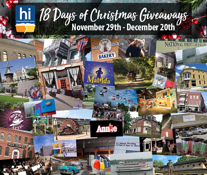 2019 Homeschool Iowa 18 Days of Christmas Giveaways