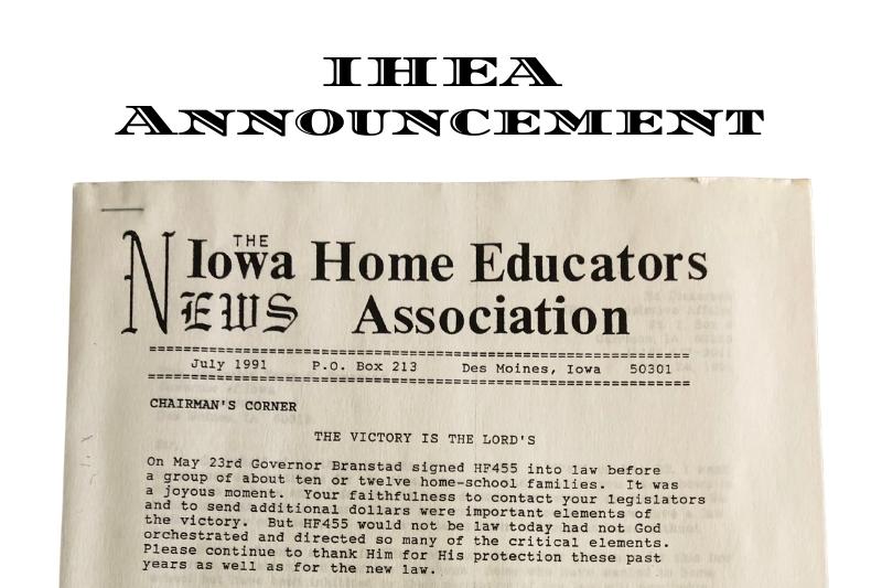 IHEA Announcement on HF 455